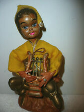 """Vintage Mid Century Hollow Plastic Pixie Elf Playing the Harp Hong Kong 7"""""""