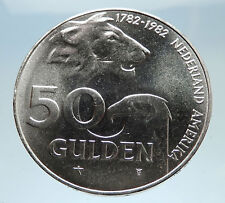 1982 NETHERLANDS Queen Beatrix w Lion Eagle Claw Silver 50 Gulden Coin i74947