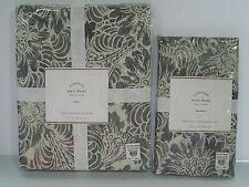 NEW Pottery Barn MARI Standard Pillow Sham & Twin Duvet Cover GRAY Botanical