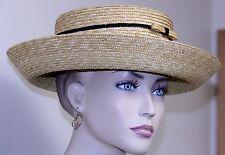 vintage woman's hat LIZ CLAIBORNE straw wide upbrim bows black raffia accents