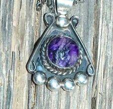 "Navajo Willie Saiz Purple Sugilite Pendant & Sterling Necklace 21"""
