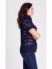 Crossroads Navy blue twist CHUNKY winter knit cowl neck cardigan jacket TOP 18