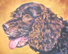 "American Water Spaniel dog portrait art Canvas Print of Lashepard painting 8x10"""