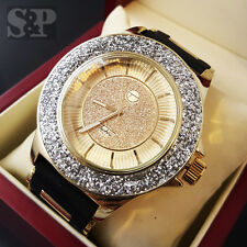 Luxury Gold Tone Hip Hop Iced Out Techno Pave Diamond Cut Rapper Silicone Watch