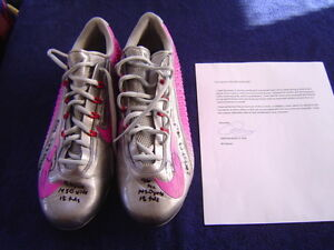 NEW YORK GIANTS ODELL BECKHAM JR GAME USED SIGNED INSCRIBED 15 NIKE CLEATS LOA 2