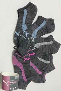 Puma Sportstyle 6-Pair Women's No Show Socks   Gray with Pink/Blue/Gray