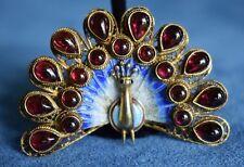 Vintage Chinese 925 Filigree Sterling Silver Enamel PEACOCK Garnet Brooch Pin