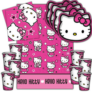 Hello Kitty Stars Complete Childrens Party Tableware Decorations Kits
