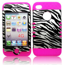 Black Zebra Print Hard Cover & Pink Skin Hybrid Phone Case For Apple iPhone 4 4S