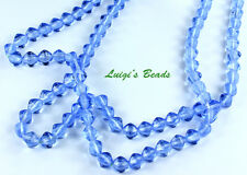50 Medium Sapphire Blue Czech Pressed Glass Bicone Beads 6mm