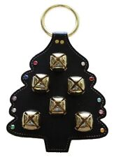 CHRISTMAS TREE BLACK LEATHER DOOR CHIME w/ Stitching Crystal Ornaments & 6 Bells