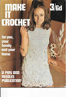 "Vintage Ladies Dress Crochet Pattern 34"" Bust, COVER PATTERN NOT MAGAZINE 601515"