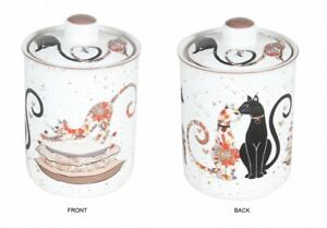 Cat Couple Embossed Canister Storage Fine Bone China w Gift Box 14.5*10.5cm