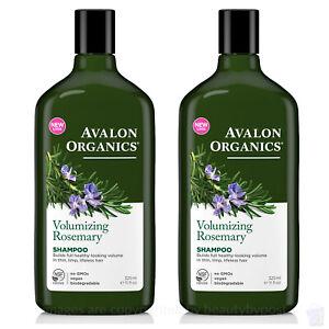PACK OF 2 Avalon Organics volumising ROSEMARY SHAMPOO, 325ml