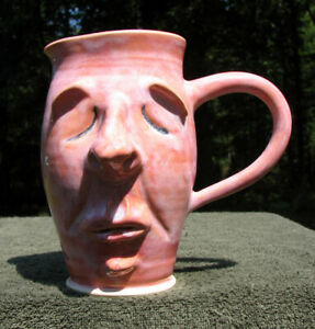 Ceramic PITCHER  Sleeping FACE drinking water tea JUG ugly funny pottery clay