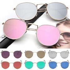 Las mujeres de metal marco gafas de círculo espejo gafas de sol redonda