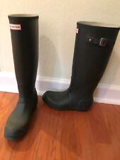 Green Hunter Boots Wellingtons Wellies 8 Women rain Boots Matte