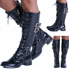 NEW WOMENS LADIES KNEE  STRETCH HIGH HEEL LONG FULL LACE UP BOOTS SHOES UK 3-8