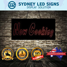 Animated LED NEON Motion Flash Open Business Sign NOW COOKING : 30CM X90CM
