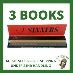 3 x KING SIZE Sinners Unbleached Unrefined Papers - Rolling - Cigarette
