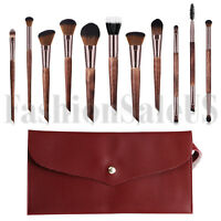 11Pcs Wood Handle Cosmetic Makeup Brush Set Foundation Blush Soft Brushes w Case