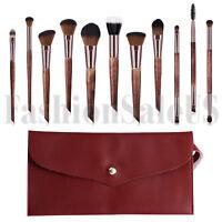 11Pcs Wood Handle Cosmetic Makeup Brush Set Foundation Blush Soft Brushes w Case