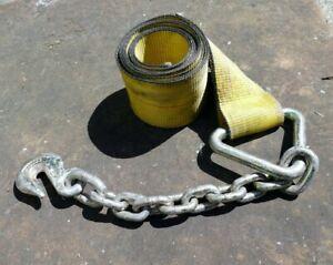 "Grab Hook 5400 LBS w/ binder safety chain PCC Polyester Winch Strap 10 feet 4"""