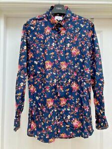 Mens Next Navy Slim Fit Floral Shirt - UK Size S
