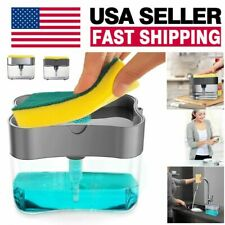 2in1 Kitchen Soap Pump Dispenser & Sponge Holder Dish Soap Storage Dispensers Us