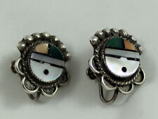 Zuni Best Very Old Mosaic inlay Sun Face Sunface Hand Made ScrewBack Earrings