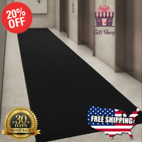 "Black Hall Runner Rug Long Hallway Area Carpet Non Slip Rubber Mat 20"" X 59''"