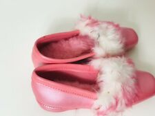 Vintage House Slippers Shoes Pink Fuzzy Puff Grants Sz 7 Rare