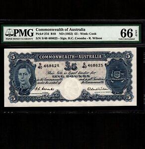 Australia 5 Pounds 1952 P-27d * PMG Gem Unc 66 EPQ * King George * Rare Grade *