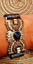 Blue & Clear Rhinestone Vegan Leather Snap Bracelet.