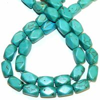 """NG2731 Blue-Green Turquoise 16mm Faceted Rectangle Tube Magnesite Beads 15"""""""