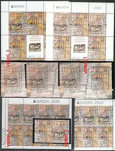 2020 Bulgaria Europa postal routes, Car- sеt, S/S, minisheet & Booklet +0.00 MNH