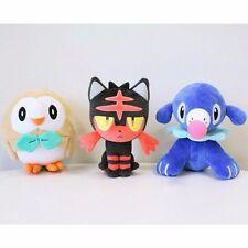 Anime Pokemon Center Rowlet Litten Popplio Plush Doll Set Of 3 Sun Moon Toy Gift