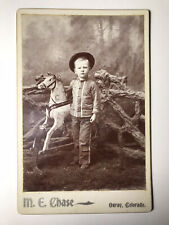 19th C Boy With Rocking Horse Toy Cabinet Card Photograph M.E. Chase Colorado