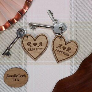 Pair of Personalised Heart Keyrings, Laser Cut, Engraved, Gift, Wedding, Love xx