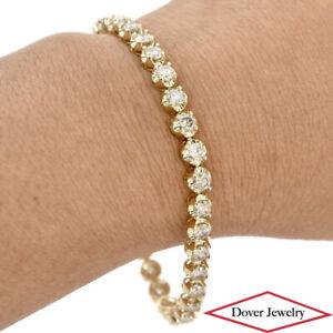 AIGL 7.01ct Diamond 14K Gold Tennis Link Bracelet 12.6 Grams NR