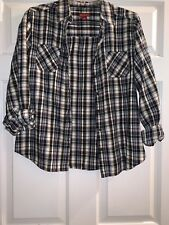 Womens Burgundy White Black Blue Plaid Flannel Shirt Top M Merona