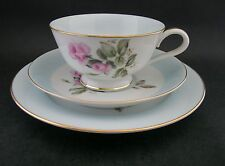 Noritake Vintage China Harlequin Roses Trio Tea Cup Saucer Plate RC c1950s Japan