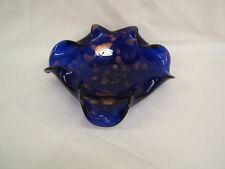 "Murano? Italian Art Glass Cobalt Blue & Gold Bowl 9 1/2"" Diameter VGC"