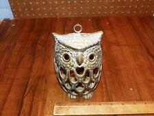 Vintage Brass Owl Hanging Candle Holder