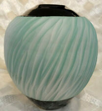 Studio Art Signed Chris Linske Hand-Thrown Aqua Blue Vase w/ Black Accents