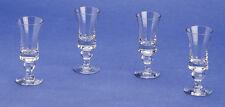 Vintage Liqueur Glasses Set of 4, Stem Design Clear Glass, 1930s Style, Lovely!