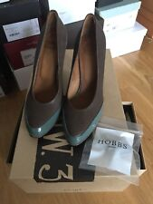 NW3 Hobbs Heels Clay Grey And Patent Green Sage Detail Brand New With Box Size36