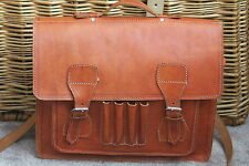 VINTAGE LEATHER MESSENGER X-BODY UNISEX BAG CHESTUT BROWN STUNNING LOOKER NMCOND