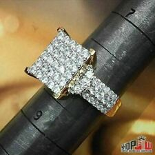 Unisex Ring Micro Pave Iced Out Style Yellow Gold Finish .925 Silver Mens Ladies
