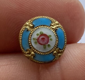 """Antique Vintage French Champleve Turquoise Enamel Button With Pink Rose 1/2"""""""